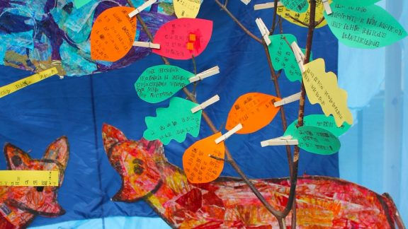 close up of children's work from the tale of two foxes at the forum norwich